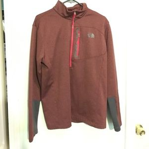 Men's LG The North Face pullover in Cranberry/Grey